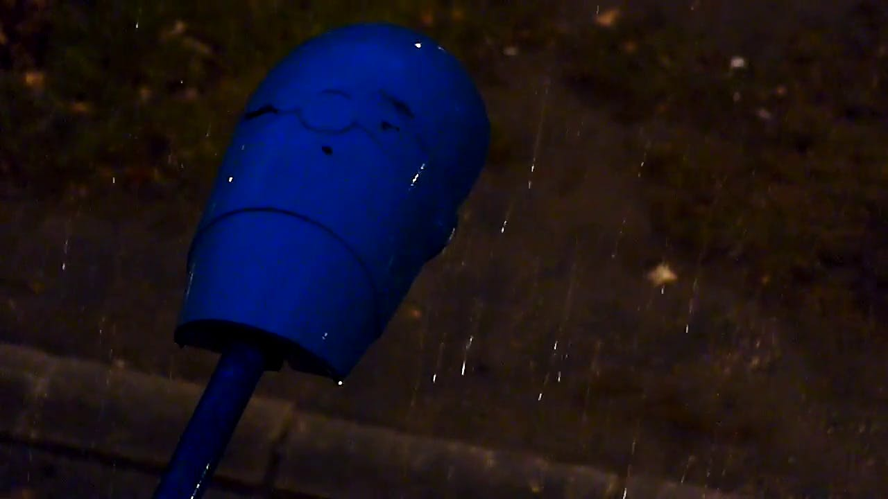 Rain fall at night stock footage clip