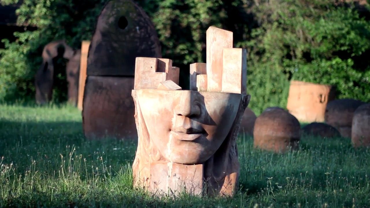 Face Block Statue free stock footage