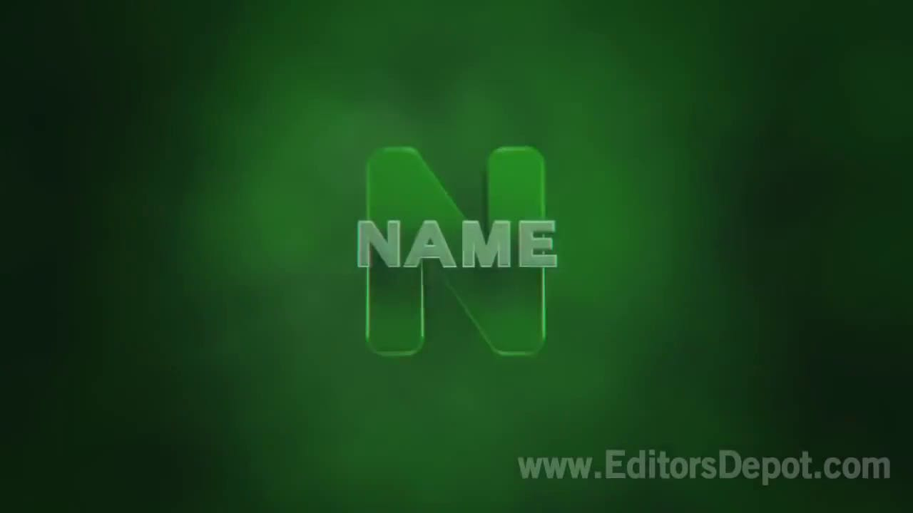 Green Text 3D Intro Template