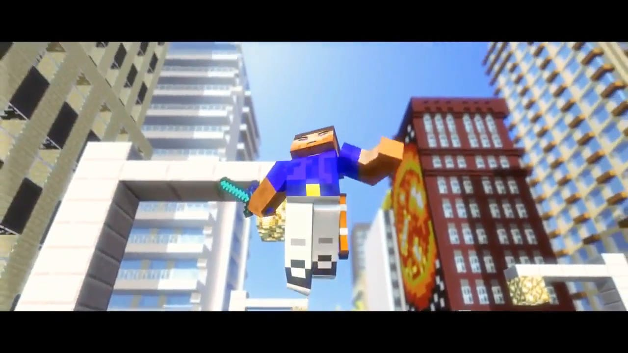 Minecraft in the city Cinema 4D After Effects Intro Template