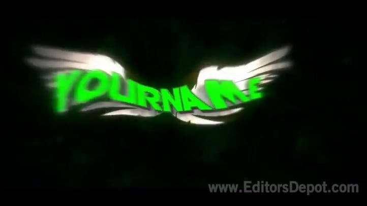 Green colorful sync wings free intro template AE C4D