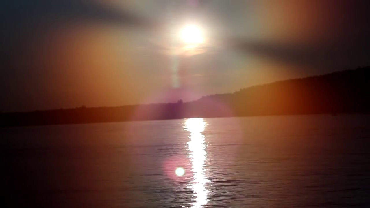 Sun Sparkles Over The River stock footage