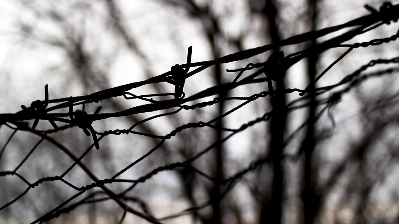 Scary wire with blurry background Winter Stock Footage