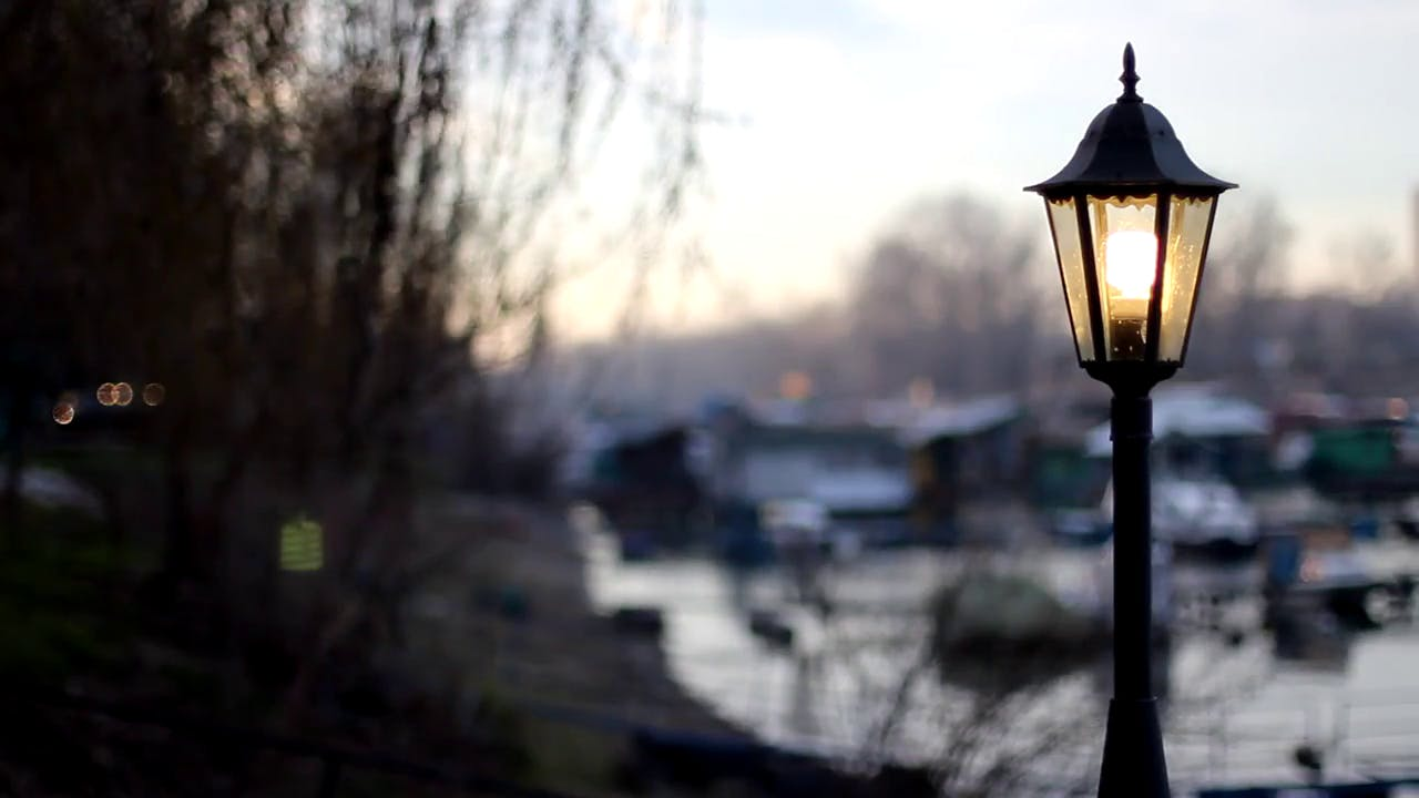 Bright lamp post stock footage