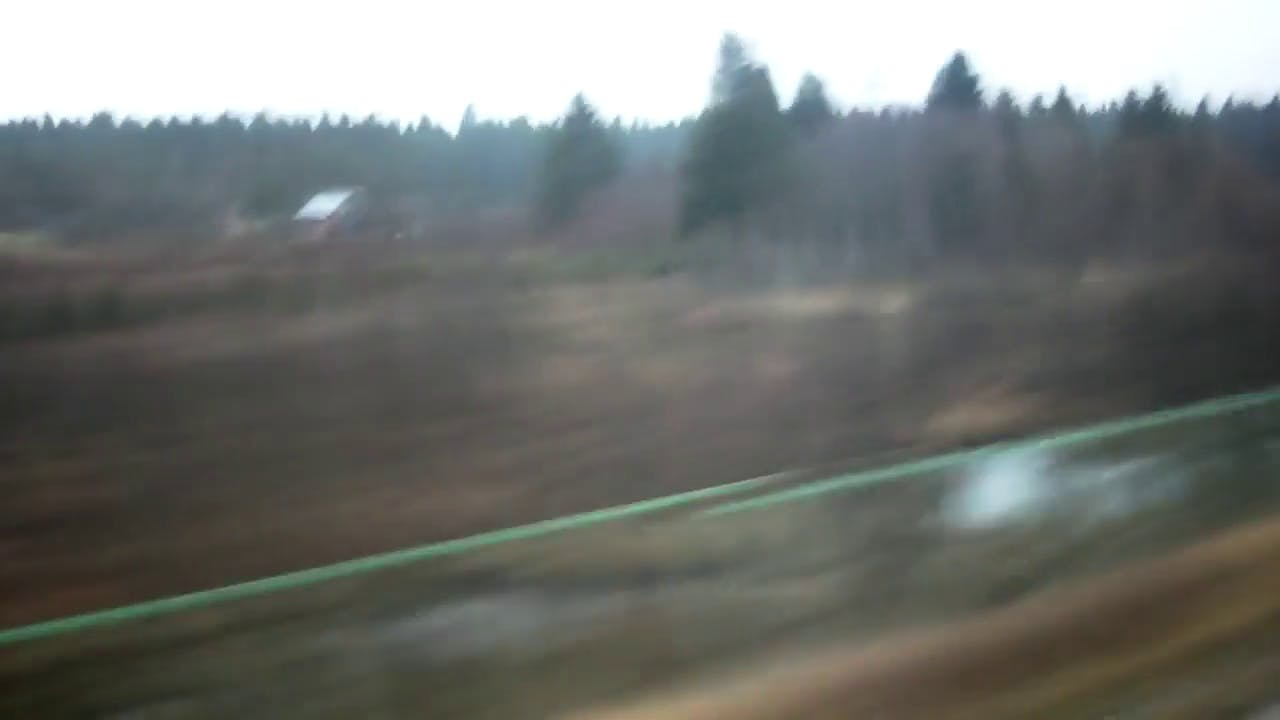 View from a train window stock video