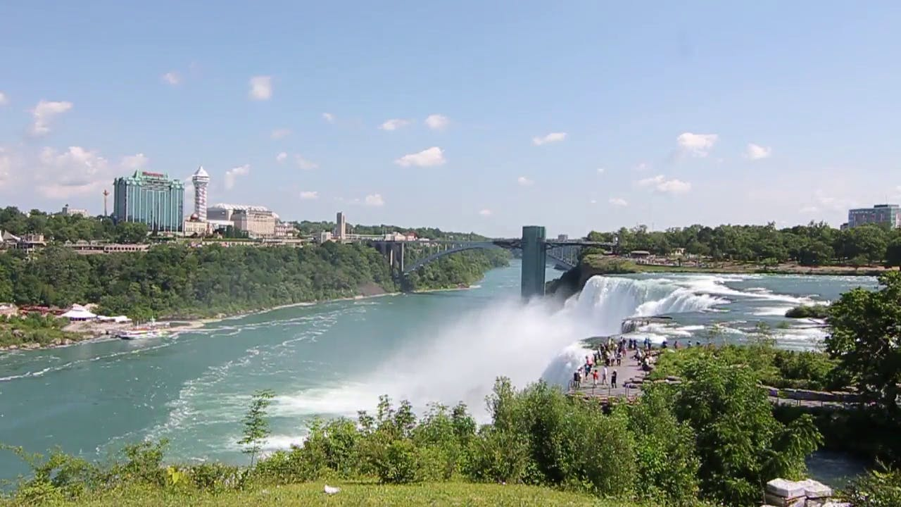 Scene of Tourists at Niagara Falls Stock Video