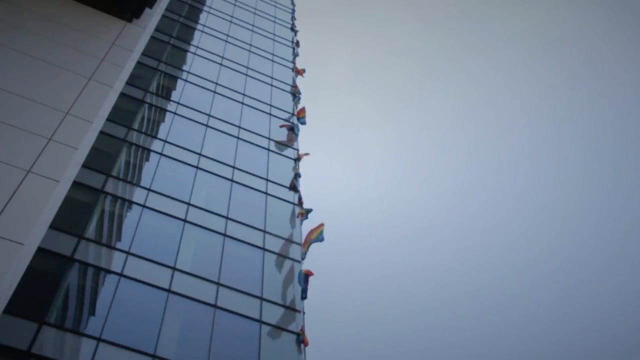 Flags on Highrise Building Stock Footage